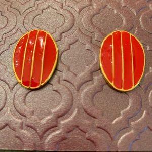 Red vintage post earrings